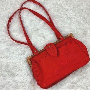 Vintage 80s bamboo poppy embroidered handbag